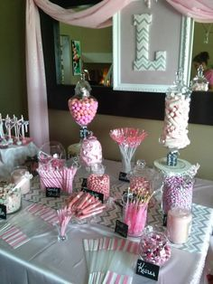 Cute pink candy bar dessert table #wedding #pink #weddingdessert #candybar #desserttable