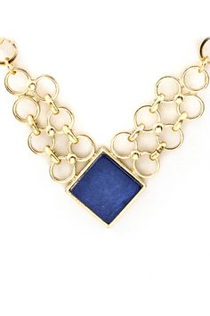 Navy Mother of Pearl Clair Necklace on Emma Stine Limited