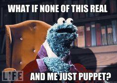 Cookie Monster is having an existentialist breakdown.