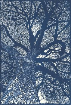 thewoodbetween:    Jardin des Plantes, Paris ~ linocut by Evelyne Bouchard.