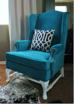 turqoise color wingback chair | Dollar Store Crafts » Blog Archive » Question: How Should I Remake ...blog ..maybe steel studs and like the white legs