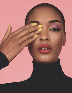 furples: Jourdan Dunn for i-D Winter 2011 by Alasdair McLellan/ beautiful... strong brow...neutral shadow...liner....soft lip color...pop of color on the nails!  Great photo