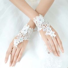 Bridal prom sexy Lace white flower Fingerless Gloves S36 #Fingerless