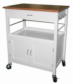 Features:  -Perfect for small spaces.  -Easy and safe to move with 4 locking casters.  -3 Hooks on the side, 3 metal bars on each side and back.  -Slide out drawer under the top, open area for storage