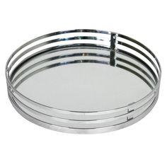 Round Vanity Mirror Tray, Chrome