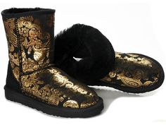 Ugg Classic Short Paisley Boots Black Gold