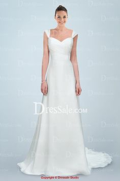Elegant Sweetheart Neckline A-line Wedding Dress with Capped Sleeves and Delicate Bow Tie