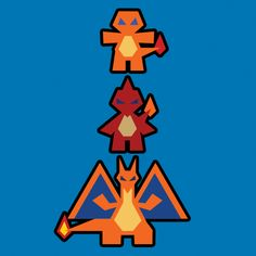 CHARIZARD FAMILY - Part of a series of minimalistic Pokevectors