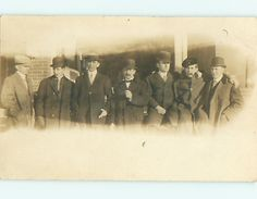 pre-1918 fashion - 7 MEN ALL WEARING HATS & SUITS