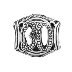 2010-3323. Commemorate life's important events - birthdays, anniversaries and more - with this 30 Milestone sterling silver filigree charm. Features an oxidized finish and millegrain detail.