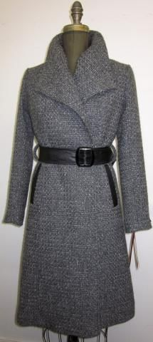 Coats by Mary Ellen (made in Toronto)--grey wool wrap coat with leather belt