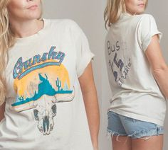 "Vintage ""Fast Eddie"" Gunshy Cow Skull Tee   Paper Thin White 70s Tshirt w/ Southwestern Cowboy Longhorn   Trashed Americana Unisex 80s Shirt"