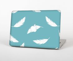 """The Simple White Feathered Blue Skin Set for the Apple MacBook Air 13"""" from Design Skinz, INC."""