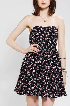 Lucca Couture Strapless Floral Chiffon Dress #urbanoutfitters