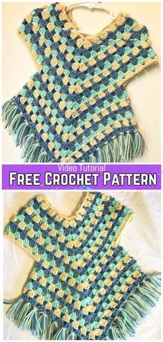 Crochet Baby Sweater Girl Poncho Patterns New Ideas Point Granny Au Crochet, Crochet Baby Poncho, Crochet Toddler, Crochet Poncho Patterns, Crochet Girls, Crochet Baby Clothes, Free Crochet, Crochet For Kids, Crochet Shawl