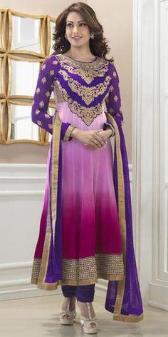 Bipasha Basu Pink And Purple Georgette Anarkali Suit.
