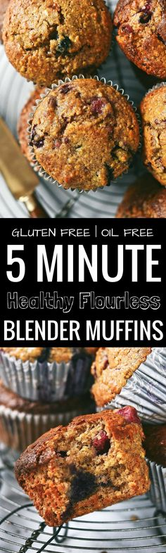 Best flourless blender muffins! Made in 5 minutes without oil. Filled with mixed berries and made with almond butter. Best gluten free breakfast recipes. Gluten free diet muffin recipe.