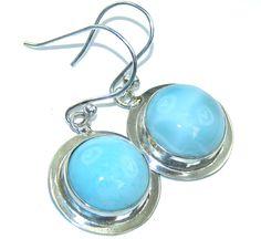 $47.50 Amazing+AAA+Blue+Larimar+Sterling+Silver+earrings at www.SilverRushStyle.com #earrings #handmade #jewelry #silver #larimar