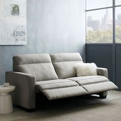"""Henry Power Recliner Sofa - Gravel (Twill) - each side operates independently - Overall product dimensions: 77.25""""w x 37.75""""d x 40""""h. Overall product dimensions (fully reclined): 77.25""""w x 60.75""""d x 33.5""""h. Interior seat width: 64.5"""". Seat depth: 21"""". Seat height: 19.25"""". Back height: 31.75"""". Diagonal depth (including legs): 37.5"""". Clearance: 2"""". Power cords (2) located on back left- and right-arm sides. Cord length: 9.8'. Removable legs."""