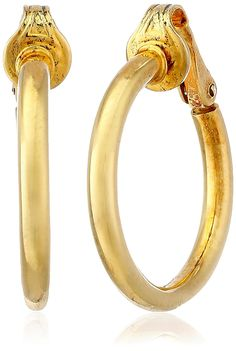 Bling Jewelry Gold Plated Silver Classic Clip On Hoop Earrings Nickel Clip *** Remarkable jewelry available now. : Jewelry Trends