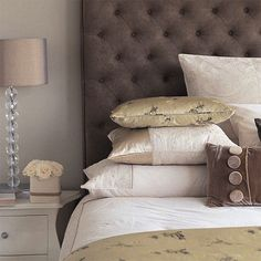 more greige (this time with a touch of brown) and tufted headboard inspiration