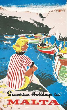 Sunshine Hollidays in Malta - - Vintage Advertising Posters, Vintage Artwork, Vintage Travel Posters, Vintage Postcards, Vintage Advertisements, Grand Prix, Party Vintage, Sunshine Holidays, Poster City