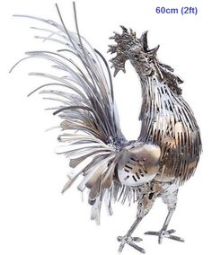 rooster statue sculpture life size animal metal art for sale