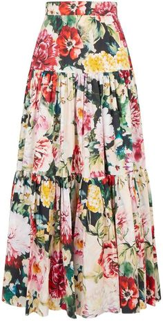 Harrods, designer clothing, luxury gifts and fashion accessories Dolce & Gabbana floral tiered skirt Jean Skirt Outfits, Blouse And Skirt, Mode Batik, Modest Fashion, Fashion Dresses, Fashion Fashion, Mode Hippie, Tiered Skirts, Mini Skirts