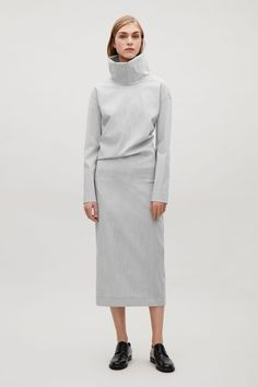 COS image 1 of Oversized high-neck dress in Grey