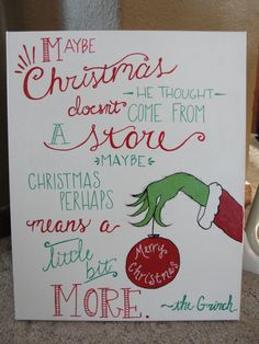 16x20 hand painted GRINCH canvas by MamaBugCreations4 on Etsy https://www.etsy.com/listing/219589088/16x20-hand-painted-grinch-canvas