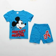 "2pcs New baby kids boys summer suit T shirt & short pants set boys outfits MK **************************************** חולצה ומכנס מיקי מאוס בצבע כחול, גיל 2-5. רק ב 35 ש""ח כולל משלוח חינם!"