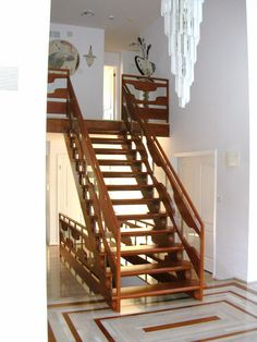 Attractive Wooden Staircase Design with Pendant Lamp Decor