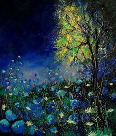 "Artist Pol Ledent   ""blue poppies and daisies"".... Gorgeous"