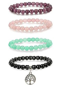 #Thunaraz #4pcs #8mm #Natural #Healing #Stone #Bracelets for #Men #Women #Beaded #Bracelets #Elastic #Life of #Tree #Charm #HEALING BRACELET?Those #bracelets are made from #natural stones:Natural Rose Quartz, Amethtyst, Green Aventurine,black onyx with #life of #tree charm:Extracts negative energy from the body and promotes health. AFFORDABLE PRICE:4pcs come as a set,all in different styles,3pcs without #charm,and 1pc with #life of #tree char.With good quality string,not easy