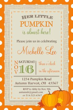 Custom baby shower invitation little pumpkin fall autumn by myPIC, $10.00