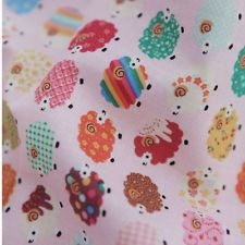 New Cotton Plain Home Deco Quilt Fabrics MULTI SHEEP Pink 1yd