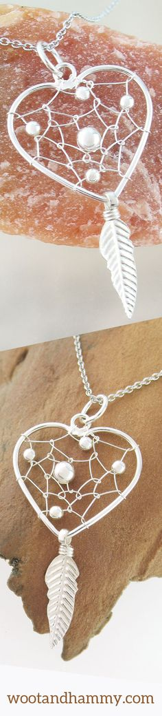 This lovely heart-shaped dreamcatcher pendant features an impossibly delicate silver wire woven into an intricate web.  Small silver beads shift playfully within the web as the pendant moves about.  A delicate embossed feather dangles from the bottom, sending good dreams to you, while keeping bad dreams caught within the web.
