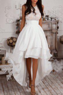 Sleeveless High Low White Prom Dress
