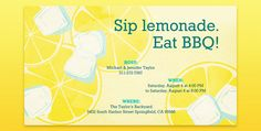 Enjoy Summer with this Lemonade invitation from Evite!