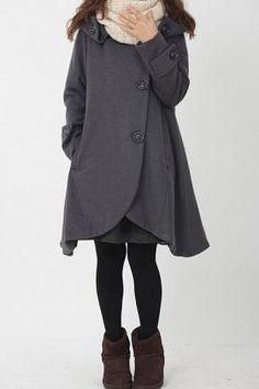 gray cloak wool coat Hooded Cape women Winter wool coat