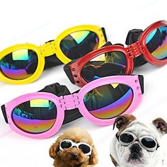 QUMY Dog Sunglasses Eye Wear Protection Waterproof Pet Goggles for Dogs About Over 15 lbs Maize