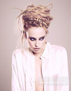 CHRISTOPHER APPLETON Lange Blonde weiblich Gerade Farbige Multi-tonalen Plastische Dreadlocks Frauen Frisuren hairstyles