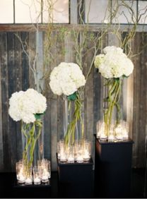 white with candles