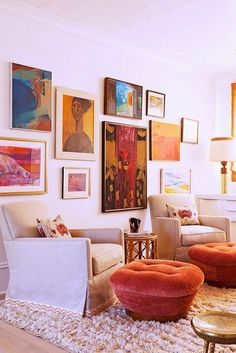 Love love love this collection of bright artwork and how it pops against the neutral interior.