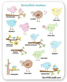 Inspiración para aplicar pájaros by sewithlisab.
