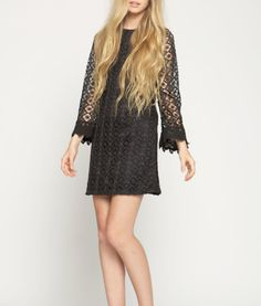 Black Long Sleeve Crochet Dress