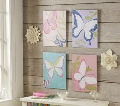 """Pottery Barn Kids Brynn Butterfly Plaques - 14"""" wide x 18"""" high  http://www.potterybarnkids.com/products/brynn-butterfly-plaques/?cm_src=AutoSchRel"""