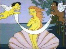 Simpsons parody of Botticelli's Birth of Venus with Mindy modeling. The Simpsons Show, Simpsons Art, Coquille St Jacques, The Birth Of Venus, Arts Ed, Ap Art, Geek Art, Banksy, Drawing