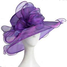 lady wide brim bow organza church wedding dress party kentucky derby hat purple