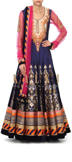 Buy Online from the link below. We ship worldwide (Free Shipping over US$100) Price- $649 Click Anywhere to Tag http://www.kalkifashion.com/navy-blue-anarkali-suit-enhanced-in-aari-and-zardosi-embroidery-only-on-kalki.html